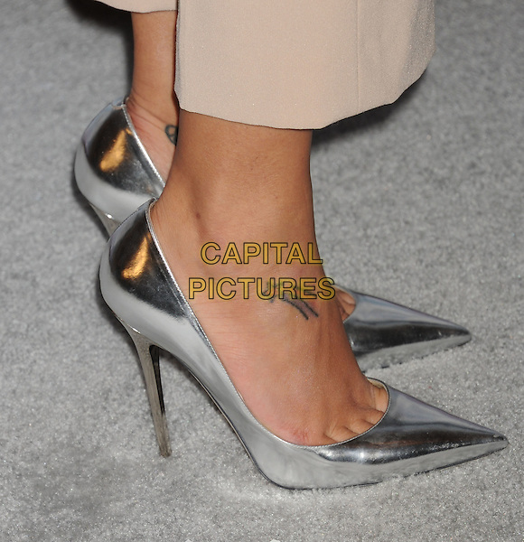 Naya Rivera's shoes .arriving at the 2013 TCA Winter Press Tour - FOX All-Star Party at The Langham Huntington Hotel and Spa in Pasadena, California, USA, .January 8th, 2013.   .detail silver shiny shoes pointed mirrored tattoo heels foot shooting star .CAP/ROT/TM.©Tony Michaels/Roth Stock/Capital Pictures