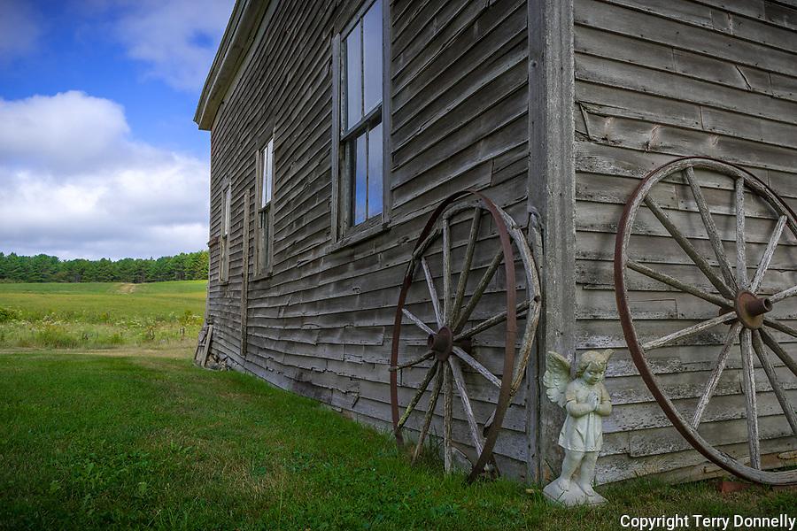 Bar Harbor, Maine:<br /> Weathered barn corner on the historic Stone Barn Farm