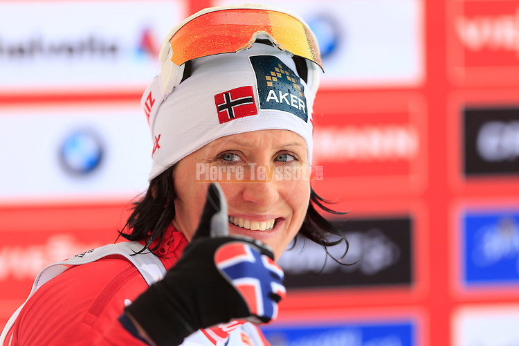 Norway's Marit Bjoergen competes during the FIS Ski World Cup Ladies' 10 10 Km Individual Classic, on February 1, 2014 in Dobbiaco, Toblach. <br /> <br /> <br /> &copy; Pierre Teyssot