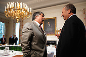 "AFL-CIO President Richard Trumka (L) visits with White House National Economic Council Director Lawrence Summers before of a meeting of the Presidentís Economic Recovery Advisory Board (PERAB) in the State Dining Room at the White House, Monday, October 4, 2010 in Washington, DC. President Barack Obama used the meeting to announce the ""Skills for America's Future,"" a program focused on improving partnerships between industry and community colleges with the goals of workforce development strategies, job training programs and job placement. .Credit: Chip Somodevilla - Pool via CNP"