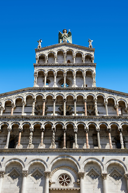 Detail of the 13th century Romanesque facade of the San Michele in Foro,  a Roman Catholic basilica church in Lucca, Tunscany, Italy