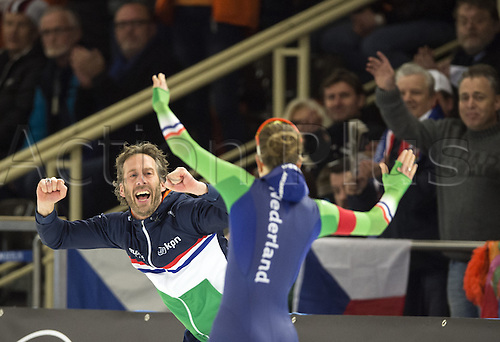 05.03.2016. Berlin, Germany. Ireen Wuest of the Netherlands and her coach Gianni Romme celebrate after her win in her 3000m race against Njatun of Norway, at the ISU World Allround Speed Skating Championships in Berlin.