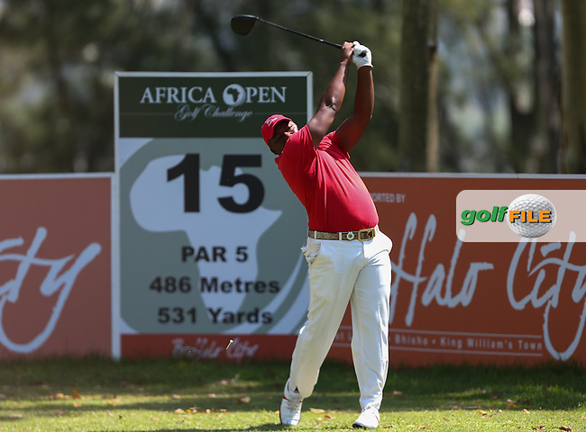 James Kamte (RSA) the only black african in the final draw lies carded an even 70 during Round Three of The Africa Open 2014 at the East London Golf Club, Eastern Cape, South Africa. Picture:  David Lloyd / www.golffile.ie