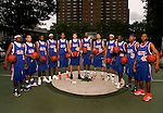 "The ""Skip to my Lou"" squad on September 1, 2006 at Rucker Park in New York, New York.  Pictured left to right are Senario Hillman, Jerryd Bayless, Tyreke Evans, Devin Ebanks, Anthony Randolph, Cole Aldrich, DeAndre Jordan, Michael Beasley, Gary Johnson, Lance Stephenson, Austin Freeman and Nolan Smith.  The players were in town for the Elite 24 Hoops Classic, which brought together the top 24 high school basketball players in the country regardless of class or sneaker affiliation."