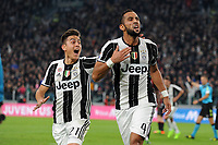 Calcio, Serie A: Juventus vs Milan. Torino, Juventus Stadium, 10 marzo 2017.<br /> Juventus' Mehdi Benatia, right, celebrates with his teammate Paulo Dybala after scoring during the Italian Serie A football match between Juventus and AC Milan at Turin's Juventus Stadium, at Turin's Juventus Stadium, 10 March 2017. <br /> UPDATE IMAGES PRESS/Manuela Viganti