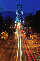 A night view of Lions Gate Bridge in Vancouver at night from Stanley Park