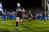 Henry Thomas and the rest of the Bath Rugby team run out onto the field. European Rugby Champions Cup match, between Bath Rugby and the Scarlets on January 12, 2018 at the Recreation Ground in Bath, England. Photo by: Patrick Khachfe / Onside Images