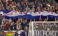 Fans bring out the Revolution banner after a goal. The New England Revolution defeated the Seattle Sounders FC, 3-1, at Gillette Stadium on September 4, 2010.