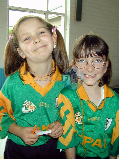 Edel Garvey and Rachael Murray in Laytown National School for the visit of The Sam Maguire..Picture Paul Mohan Newsfile