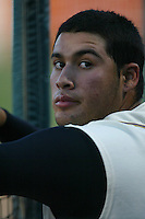 Sergio Santos of the Lancaster JetHawks in the dugout before a game at The Hanger on May 20, 2003 in Lancaster, California. (Larry Goren/Four Seam Images)