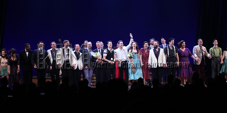 Richard Oberracker, Robert Taylor, Corey Cott, Andy Blankenbuehler, Laura Osnes, Beth Leavel and cast during the Broadway Opening Night Curtain Call Bows of 'Bandstand' at the Bernard B. Jacobs Theatre on 4/26/2017 in New York City.