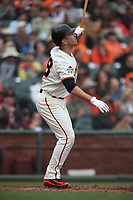 SAN FRANCISCO, CA - APRIL 11:  Buster Posey #28 of the San Francisco Giants hits a home run against the Arizona Diamondbacks during the game at AT&T Park on Wednesday, April 11, 2018 in San Francisco, California. (Photo by Brad Mangin)