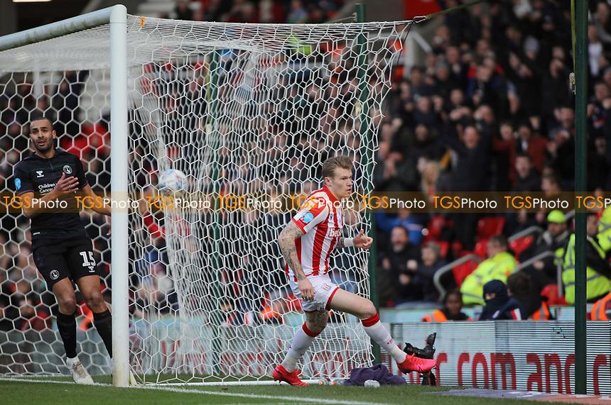James McClean of Stoke City celebrates scoring the opening goal during Stoke City vs Charlton Athletic, Sky Bet EFL Championship Football at the bet365 Stadium on 8th February 2020