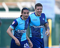 Randell Williams of Wycombe Wanderers left celebrates with Adam El-Abd of Wycombe Wanderers during Yeovil Town vs Wycombe Wanderers, Sky Bet EFL League 2 Football at Huish Park on 14th April 2018