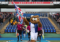 Blackburn Rovers' Mascot Rover leads the teams out at the start of todays match<br /> <br /> Photographer Rachel Holborn/CameraSport<br /> <br /> The EFL Sky Bet League One - Blackburn Rovers v Southend United - Saturday 7th April 2018 - Ewood Park - Blackburn<br /> <br /> World Copyright &copy; 2018 CameraSport. All rights reserved. 43 Linden Ave. Countesthorpe. Leicester. England. LE8 5PG - Tel: +44 (0) 116 277 4147 - admin@camerasport.com - www.camerasport.com
