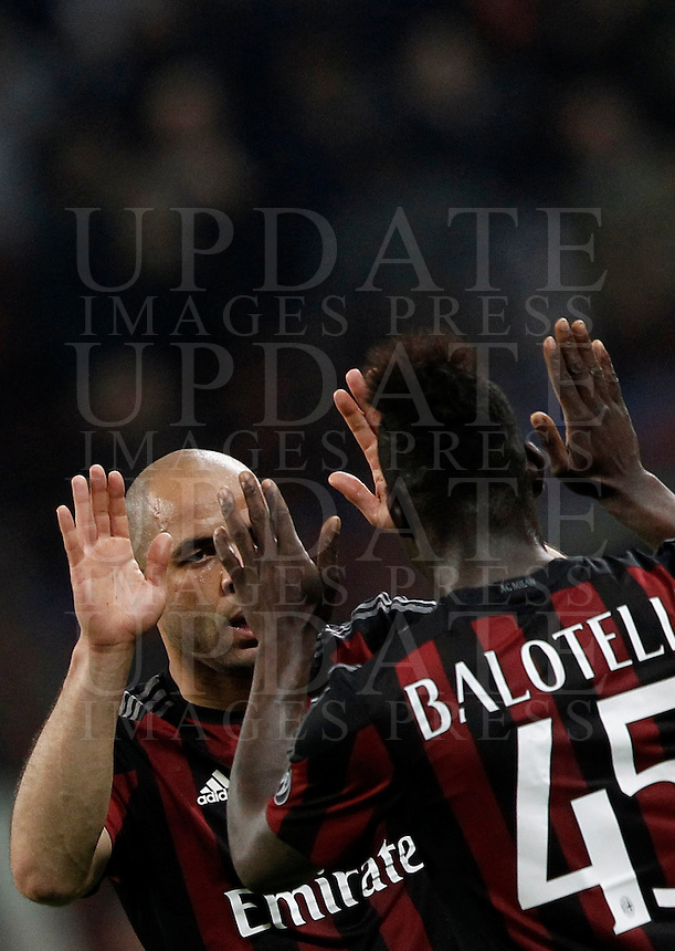Calcio, Serie A: Milan vs Juventus. Milano, stadio San Siro, 9 aprile 2016. <br /> AC Milan&rsquo;s Alex, left, celebrates with teammate Mario Balotelli after scoring during the Italian Serie A football match between AC Milan and Juventus at Milan's San Siro stadium, 9 April 2016.<br /> UPDATE IMAGES PRESS/Isabella Bonotto