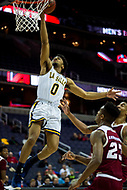 Washington, DC - MAR 7, 2018: La Salle Explorers guard Pookie Powell (0) goes up for a layup during game between La Salle and UMass in first round action of the Atlantic 10 Basketball Tournament at the Capital One Arena in Washington, DC. (Photo by Phil Peters/Media Images International)