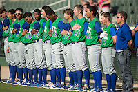 The Lexington Legends stand for the National Anthem prior to the game against the Kannapolis Intimidators at CMC-Northeast Stadium on May 25, 2015 in Kannapolis, North Carolina.  The Intimidators defeated the Legends 6-5.  (Brian Westerholt/Four Seam Images)