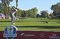 Justin Rose (Team Europe) on the 14th tee during Saturday afternoon Fourball at the Ryder Cup, Hazeltine National Golf Club, Chaska, Minnesota, USA.  01/10/2016<br /> Picture: Golffile | Fran Caffrey<br /> <br /> <br /> All photo usage must carry mandatory copyright credit (&copy; Golffile | Fran Caffrey)