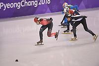 OLYMPIC GAMES: PYEONGCHANG: 17-02-2018, Gangneung Ice Arena, Short Track, Quarterfinals 1000m Men, Samuel Girard (CAN), Kazuki Yoshinaga (JPN), Itzhak de Laat (NED), Yuri Confortola (ITA), ©photo Martin de Jong