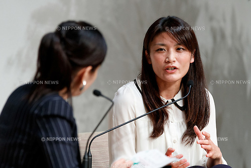 Rio Olympic wrestling gold medalist Kaori Icho (R), speaks during the World Assembly for Women : WAW! 2016 on December 13, 2016, Tokyo, Japan. Female leaders from politics, business, sports and society are attending WAW! 2016 to discuss the roles of women in their countries and affiliations. Japan is trying to increase the participation of women in work and Abe's administration set a goal of increasing the share of women in management roles to 30 percent by 2020. WAW! 2016 is being held from December 13 to 14 at the Grand Prince Hotel New Takanawa in Tokyo. (Photo by Rodrigo Reyes Marin/AFLO)