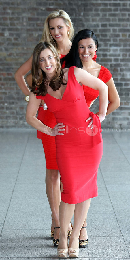 25/08/'10 . TV3 presenter, Sinead Desmond, former Miss World, Rosanna Davison, . and singer, Hazel Kaneswarren pictured at CHQ this morning at a photocall ' This is not a Red Dress, It's a Red Alert' by the Irish Heart Foundation to publicise the fact that heart disease is not just a man's disease, it's the No.1 killer of Irish women. The national charity fighting herat disease and stroke urges all women to take action now to reduce their risk and know the symptoms of heart attack and stroke...Picture Colin Keegan, Collins, Dublin.