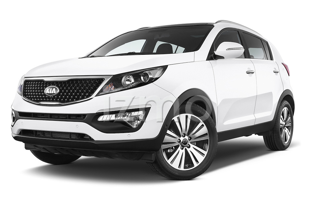 Stock pictures of low aggressive front three quarter view of a 2014 KIA SPORTAGE Sense 5 Door SUV 2WD Low Aggressive