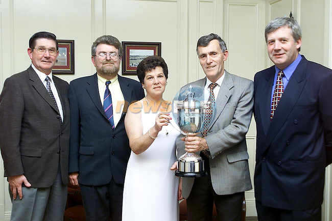John Courtney, Michael Foley, Marie Hanlon, Aiden Cullen and senator Fergus O'Dowd at the announcement of details of the Frank Hanlon Perpetual Cup which is to be played in Townley Hall Golf Club..Picture Paul Mohan Newsfile