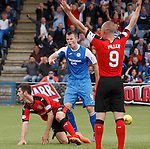 Dom Ball fouled by Andy Dowie for a penalty
