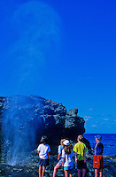Children dwarfed by the Nakalele blowhole
