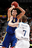 Real Madrid's Martynas Pocius (r) and BC Khimki MR's Sergey Monya during Euroleague 2012/2013 match.November 23,2012. (ALTERPHOTOS/Acero) /NortePhoto