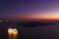 A ship doing a cruise in Santorini, Greece
