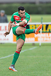 Christian Walker puts in a clearing kick. Counties Manukau Premier Club rugby game between Pukekohe and Waiuku, played at Colin Lawrie Fields, Pukekohe on Saturday April 14th, 2018. Pukekohe won the game 35 - 19 after leading 9 - 7 at halftime.<br /> Pukekohe Mitre 10 Mega -Joshua Baverstock, Sione Fifita 3 tries, Cody White 3 conversions, Cody White 3 penalties.<br /> Waiuku Brian James Contracting - Lemeki Tulele, Nathan Millar, Tevta Halafihi tries,  Christian Walker 2 conversions.<br /> Photo by Richard Spranger