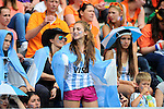 The Hague, Netherlands, June 14: Fans of Argentina during the field hockey bronze medal match (Women) between USA and Argentina on June 14, 2014 during the World Cup 2014 at Kyocera Stadium in The Hague, Netherlands. Final score 2-1 (2-1)  (Photo by Dirk Markgraf / www.265-images.com) *** Local caption ***