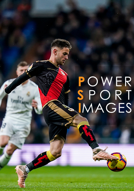 Alvaro Medran of Rayo Vallecano in action during the La Liga 2018-19 match between Real Madrid and Rayo Vallencano at Estadio Santiago Bernabeu on December 15 2018 in Madrid, Spain. Photo by Diego Souto / Power Sport Images