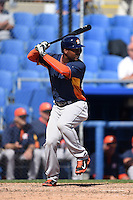 Houston Astros outfielder L.J. Hoes (0) during a Spring Training game against the Toronto Blue Jays on March 9, 2015 at Florida Auto Exchange Stadium in Dunedin, Florida.  Houston defeated Toronto 1-0.  (Mike Janes/Four Seam Images)