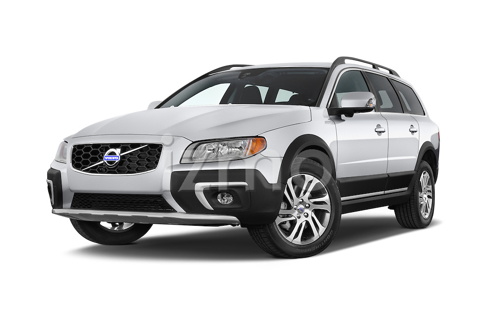 Stock pictures of low aggressive front three quarter view of a 2015 Volvo XC70 T5 5 Door Wagon