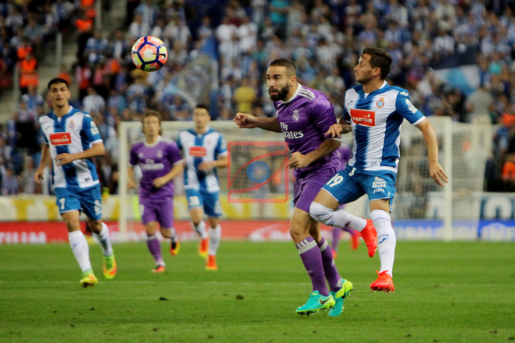 League Santander 2016/2017. Game: 4.<br /> RCD Espanyol vs R. Madrid: 0-2.<br /> Daniel Carvajal vs Pablo Piatti.