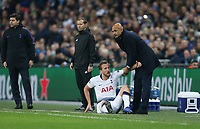 Tottenham Hotspur's Harry Kane is helped to his feet by Internazionale manager Luciano Spalletti <br /> <br /> Photographer Rob Newell/CameraSport<br /> <br /> UEFA Champions League Group B - Tottenham Hotspur v Internazionale - Wednesday 28th November 2018 - Wembley Stadium - London<br />  <br /> World Copyright &copy; 2018 CameraSport. All rights reserved. 43 Linden Ave. Countesthorpe. Leicester. England. LE8 5PG - Tel: +44 (0) 116 277 4147 - admin@camerasport.com - www.camerasport.com
