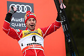 7th January 2018, Val di Fiemme, Fiemme Valley, Italy; FIS Cross Country World Cup, Tour de ski; Mens 9km F Pursuit; Dario Cologna (SUI)celebrates on the podium