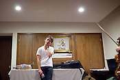 Sondre Lerche spends a few moments alone after playing at Central Presbytarian Church in Austin, Texas during the 2011 SXSW Music Festival.