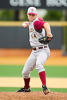 Florida State Seminoles relief pitcher Mack Waugh #44 in action against the Wake Forest Demon Deacons at Wake Forest Baseball Park on March 25, 2012 in Winston-Salem, North Carolina.  The Demon Deacons defeated the Seminoles 7-5.  (Brian Westerholt/Four Seam Images)