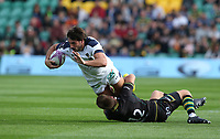 Clermont Auvergne's Remi Lamerat is tackled by Northampton Saints's Piers Francis<br /> <br /> Photographer Stephen White/CameraSport<br /> <br /> European Rugby Challenge Cup - Northampton Saints v Clermont Auvergne - Saturday 13th October 2018 - Franklin's Gardens - Northampton<br /> <br /> World Copyright © 2018 CameraSport. All rights reserved. 43 Linden Ave. Countesthorpe. Leicester. England. LE8 5PG - Tel: +44 (0) 116 277 4147 - admin@camerasport.com - www.camerasport.com