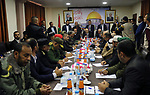 Palestinian Prime Minister Rami Al-Hamdallah attends a meeting as the head of Hamas-run security forces in Gaza, in Gaza City December 7, 2017. Photo by Ashraf Amra