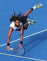 Germany's Dustin Brown dives at the net during his singles match  at the ASB Classic. ATP Mens Tennis Tournament. ASB Tennis Centre, Auckland, New Zealand. Wednesday 11 January 2017. © Copyright photo: Andrew Cornaga / www.photosport.nz