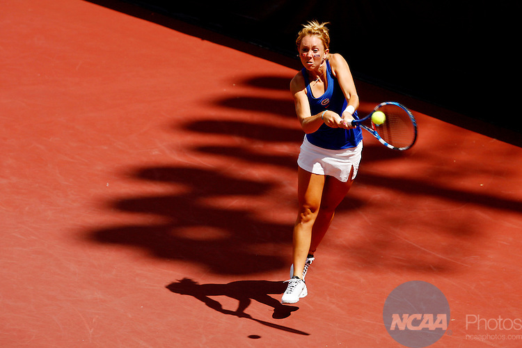 25 MAY 2010:  Lauren Embree of the University of Florida hits a backhand against Stanford University during the Division I Women's Tennis Championship held at the Dan Magill Tennis Complex on the University of Georgia campus in Athens, GA.  Stanford defeated Florida 4-3 for the national title.  Jamie Schwaberow /NCAA Photos
