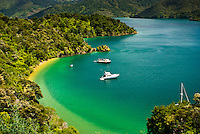 Picturesque Governors Bay near Picton, Marlborough Sounds, Nelson Region, Marlborough, South Island, New Zealand