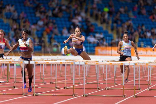 04.07.2015.  Birmingham, England. Sainsburys British Athletics Championship.  Katarina Johnson-Thompson comes second in her heat of the 100m hurdles.