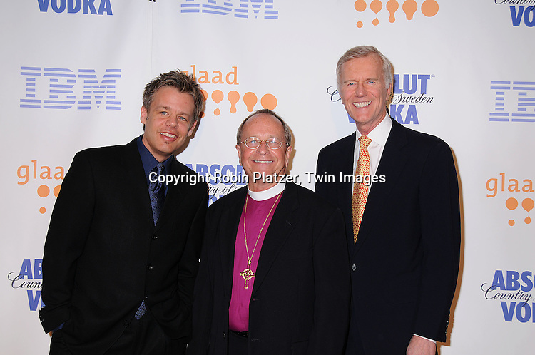 Daniel Karslake, Rev Gene Robinson and Michael Huffington..posing for photographers at the 19th Annual GLAAD Media Awards on March 17, 2008 at The Marriott Marquis Hotel in New York City. ..Robin Platzer, Twin Images
