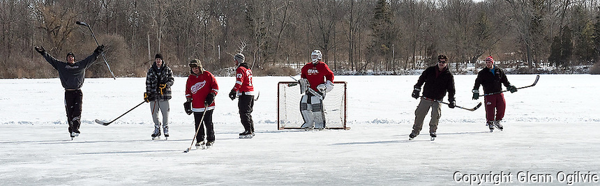 Friends and newcomers cleared the ice of snow for a impromptu game of shinny on Lake Chipican. From left are; Justin Lindsay, Jeff Brown, Adam Oblak, Nick Stuckey, goalie Jacob Theroet, unknown and Joel Sowinski.